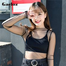 Gacloz Blouse Blusas Shirt 2019 Spring Women Ladies Sexy Sheer Mesh Shirt Tops Loose Feminino Chiffon Club Blouse Inside Shirt(China)