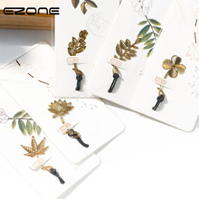 Купить с кэшбэком EZONE Chinese Restoring Style Bookmark Leaves Lotus Clover Bookmark Gold Brass Material 6 Style Book Clip Creative Stationery