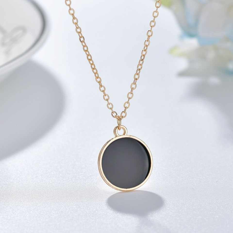 New Women Trendy Pendants And Necklace Round Black Pendant Necklace Simple Style Handmade Wedding Jewelry Necklace&Pendants