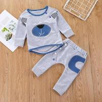 Trendy Baby Clothing Set Warm Outfits Embroidery Bear Sweatshirt Pants Suit D4