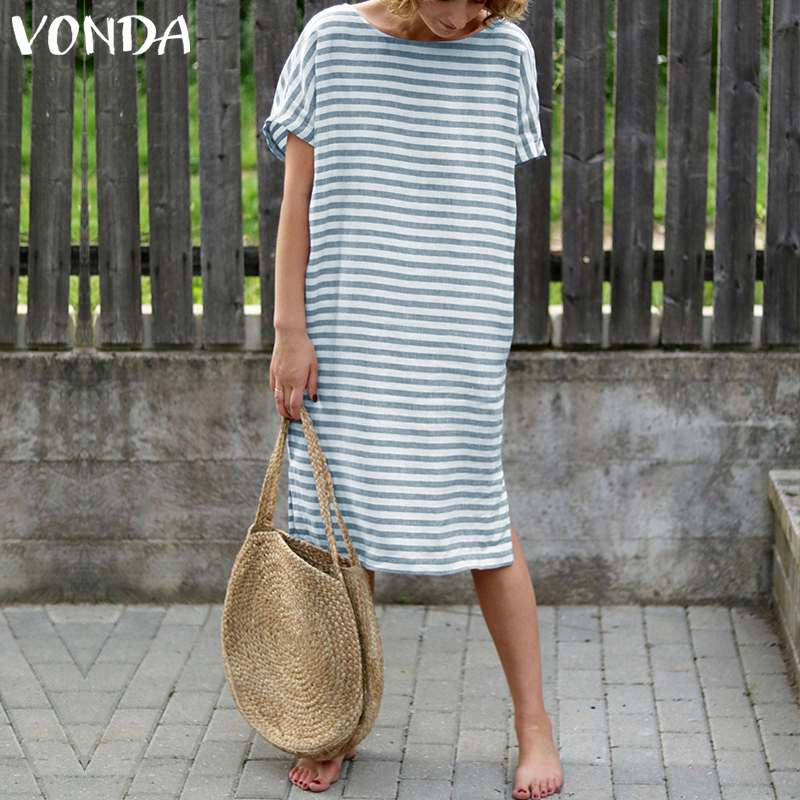 Women Striped Dress 2019 VONDA Summer Sexy O Neck Short Sleeve Backless Dresses Vintage Casual Loose Vestidos Plus Size 5XL