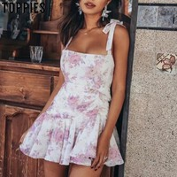 9ed5a65fc 2019 Floral Print Chiffon Dress Summer Camisoles Sexy Vacation Beach Mini  Dress Strapless Vestidos