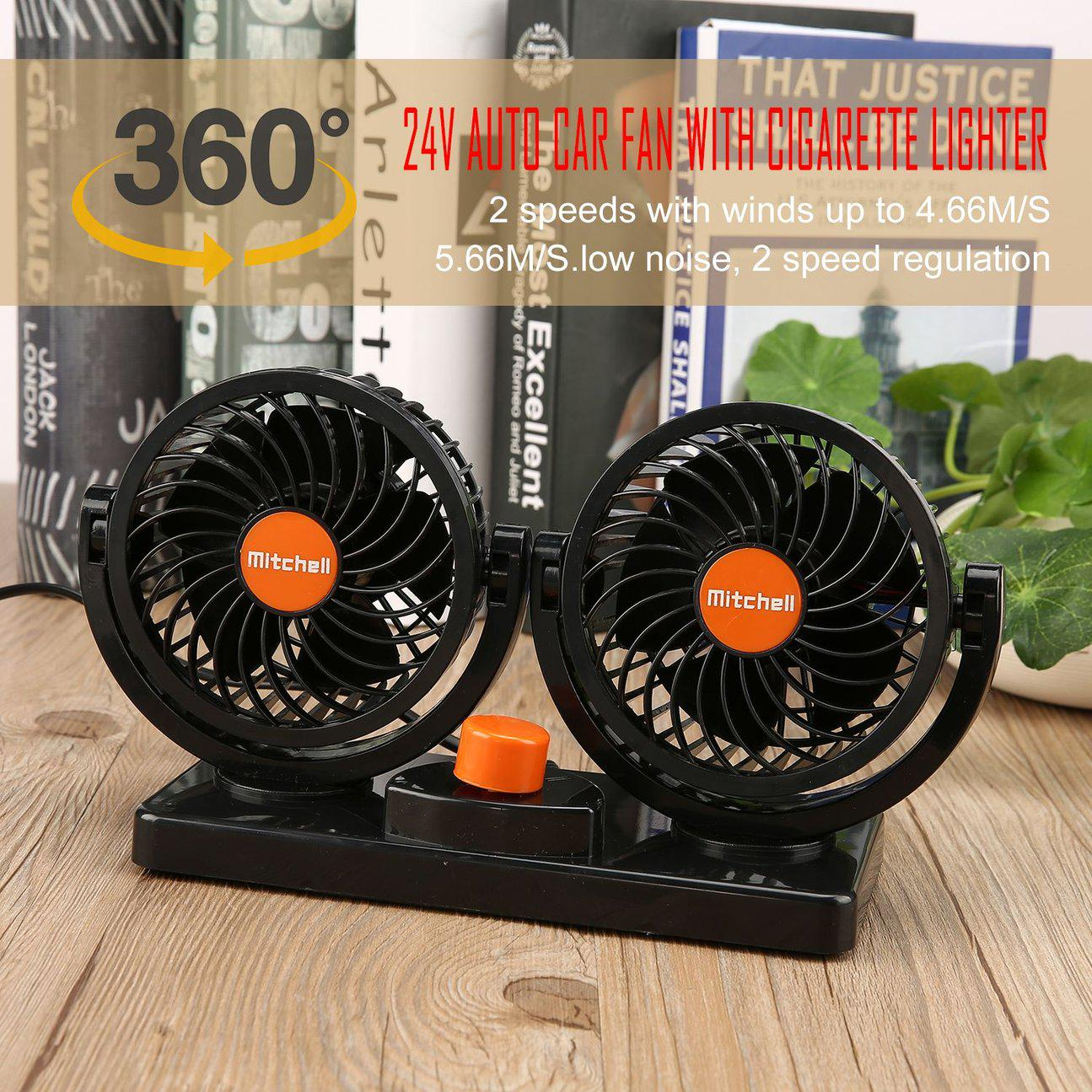 24V Car Fan Ventilador Air Conditioning Double Head Auto Air Cooler Cars Ventilator Double Motor For Car 360 Degree Rotatable 29-in Cables, Adapters & Sockets from Automobiles & Motorcycles