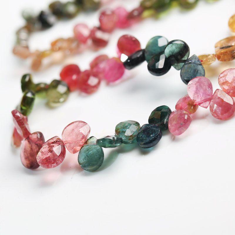 Tourmaline goutte à facettes 5-10mm multicolore AA collier 16 pouces en gros perles nature FPPJ femme 2018 - 2