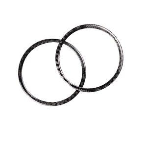 Image 2 - עבור פורד מוסטנג 2015 2016 2017 2pcs סיבי פחמן רכב פנים דלת אודיו רמקול טבעת רצועת תפאורה כיסוי