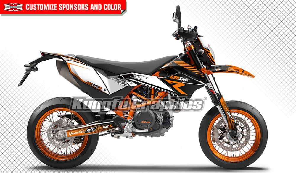 US $149 89 |KUNGFU GRAPHICS Personalised Stickers Kit Custom Vehicle Wraps  MX Decals for KTM 690 SMC R SMC R 2012 2013 2014 2015 2016 2017-in Decals &