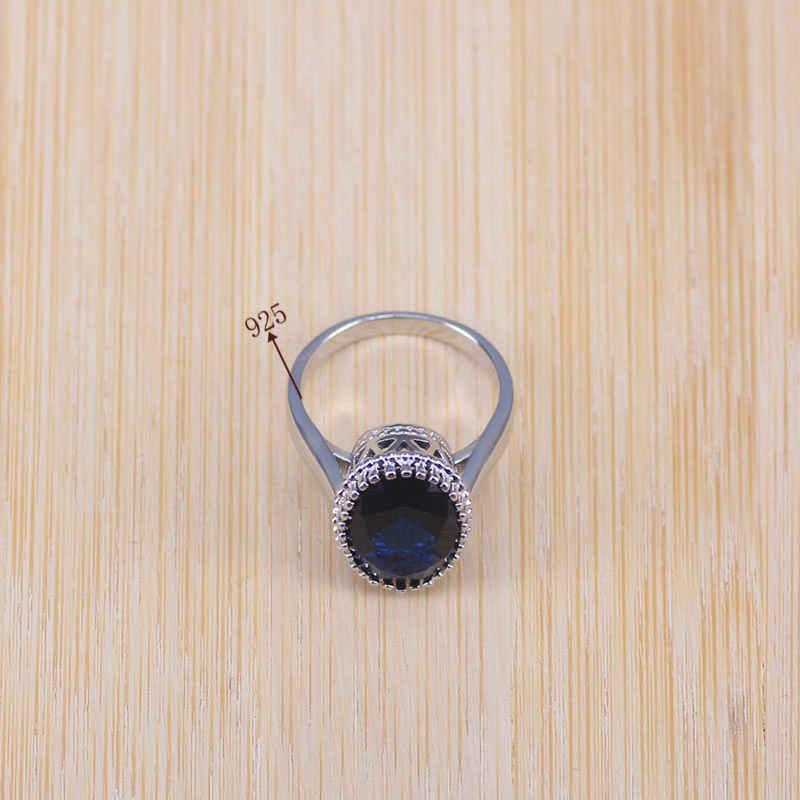 Niebieskie z cyrkonią ślubny srebrny 925 biżuteria kostiumowa zestawy kobiety wisiorek i naszyjnik pierścień kolczyki z kamienie naturalne biżuteria pudełko