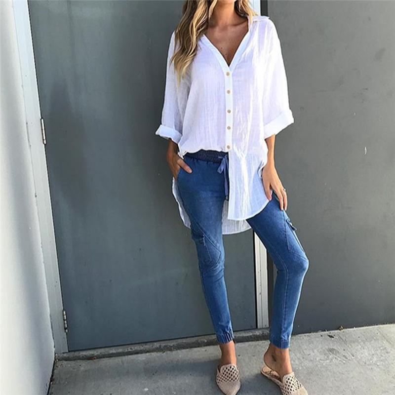Womens Casual Work Classic Long Sleeve   Shirts   Tops and   Blouse   women 2019 new fashion long   blouse     shirt   women
