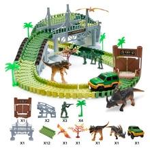 144 pcs/set Children Electric Track  Educational Home Toys Intelligence Self-Assembled Dinosaur Car