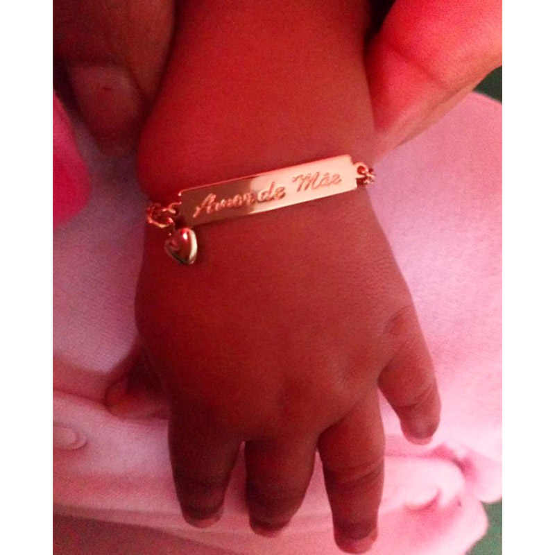 L'amore Della Madre Del Bambino Braccialetti D'oro Gioielli per Bambini Battesimo Bracciale Pulseira Bebe Ragazze Dei Ragazzi Bileklik Branzoletki Dzieci B01Mae