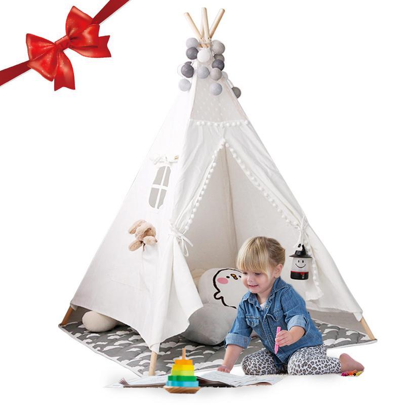 Enfants tente de jeu Tipi-toile de coton indien enfants Tipi Playhouse avec tapis intérieur extérieur jouet garçons filles bébé cadeau