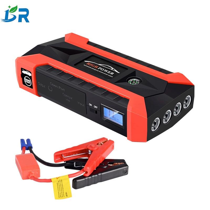 SOS lumières voiture saut démarreur chargeur de voiture dispositif de démarrage batterie externe numérique boussole jumper LCD affichage pour voiture batterie Booster