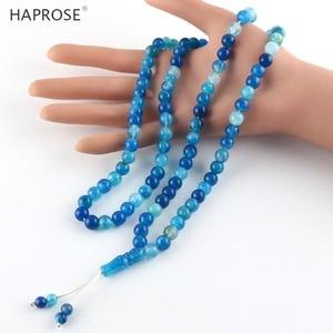 Image 3 - 100% Natural agate tasbi necklace Round Shape Prayer 99 beads Islamic Muslim tasbih Allah Rosary blue agate 8mm free shipping