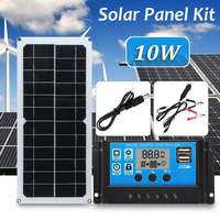 2019Newest 3in1 10W 12V/5V DC USB Solar Panel Kit 10A PWM Multifunction Solar Charger Controller 30cm DC Male Cable