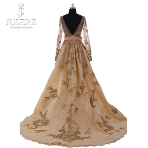 Image 2 - 2018 Jusere High Couture A Line Luxury Gold Beaded Appliqued Luxury Long Sleeve V Back Evening Dresses Prom Gown W50256