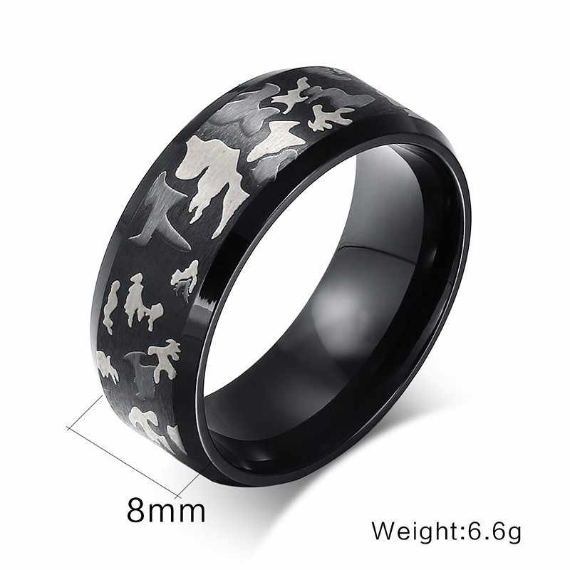 Masculino de aço inoxidável exército camuflagem anel charme feminino masculino jóias us tamanho 4 a tamanho 12