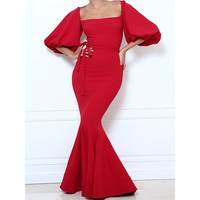 Sexy Mermaid Dress Bandage Women Lantern Sleeve Plus Size Female Solid Elegant Prom Evening Slim Stylish Red Chic Maxi Dresses