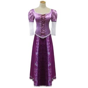 Image 1 - Halloween festa de carnaval cosplay princesa emaranhado rapunzel fantasia vestido adulto trajes para trajes para as mulheres peruca longa natal