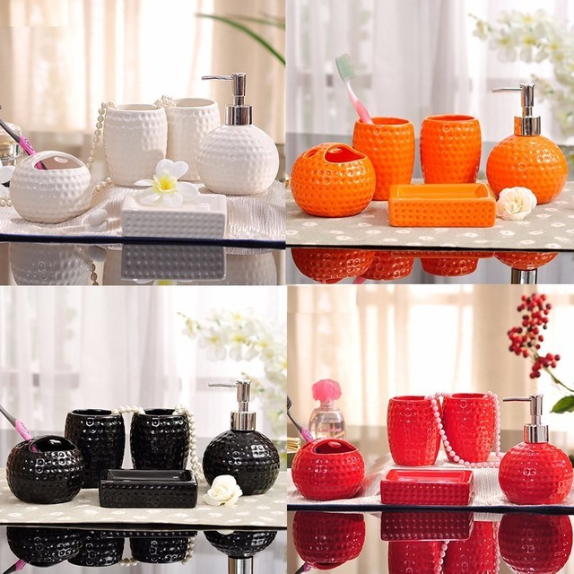 Ceramic bathroom 5 piece set bathroom supplies washing toothbrush cup mouth cup brushing cup set lotion bottle soap box