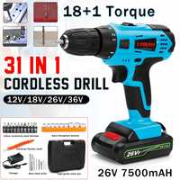 Household Power Tool 12/18/26/36V Electric Impact Drill Cordless Screwdriver Set Hexagonal Sleeves 18 types Detachable for Metal