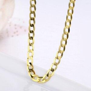 Image 1 - 45cm 80cm 4mm Dünne 925 Sterling Silber W/ Gold Farbe Curb Kette Link Halsketten Frauen männer Schmuck Collares Kolye Collier Halskette