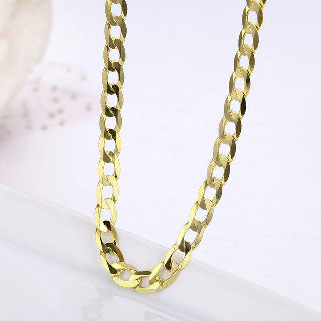 45cm 80cm 4mm Slim 925 Sterling Silver W/ Gold Color Curb Chain Link Necklaces Women Men Jewelry Collares Kolye Collier Ketting