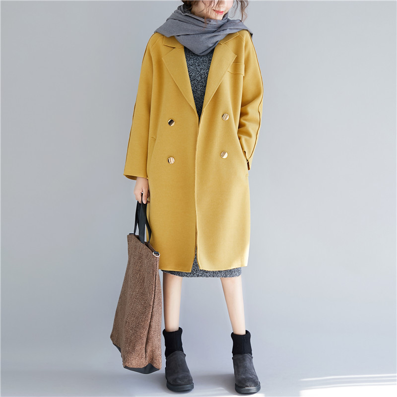 La yellow Buykud Laine De Solides Beige Chaud Casual Manteau Hiver Taille Plus gray Point Boutons Ouvrir Longues Femmes Coton Manches Poches 6RB6TqA
