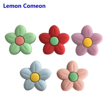 Lemon Comeon 5PCS Silicone Beads Baby Teethers Flower Shape BPA Free Teething Toys Food Grade Tiny Rod