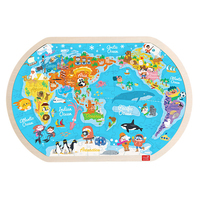 80Pcs World Map Pattern Wooden Jigsaw Toys Children Early Educational Enlightenment Cognition Puzzle Game Kit for Kid