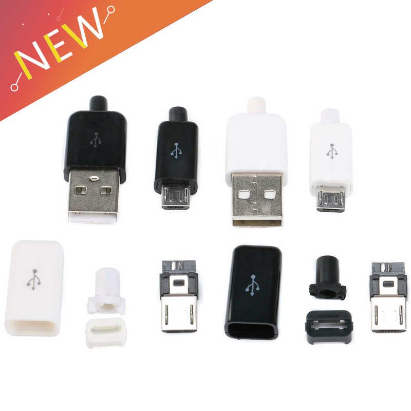 10 Buah/Set 4 In 1 DIY Micro USB Tipe Welding Pria 5 Pin Plug Konektor dengan Penutup Plastik Putih /Hitam