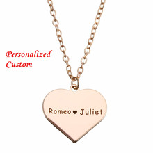 Personalized Custom Love Heart Chain Necklace Women Men Engraving Name Date DIY Necklace Jewelry Couple Promise Customized Gift women gold necklaces custom name engraving necklace love heart collar birthstone chain jewelery christmas day gift for mother
