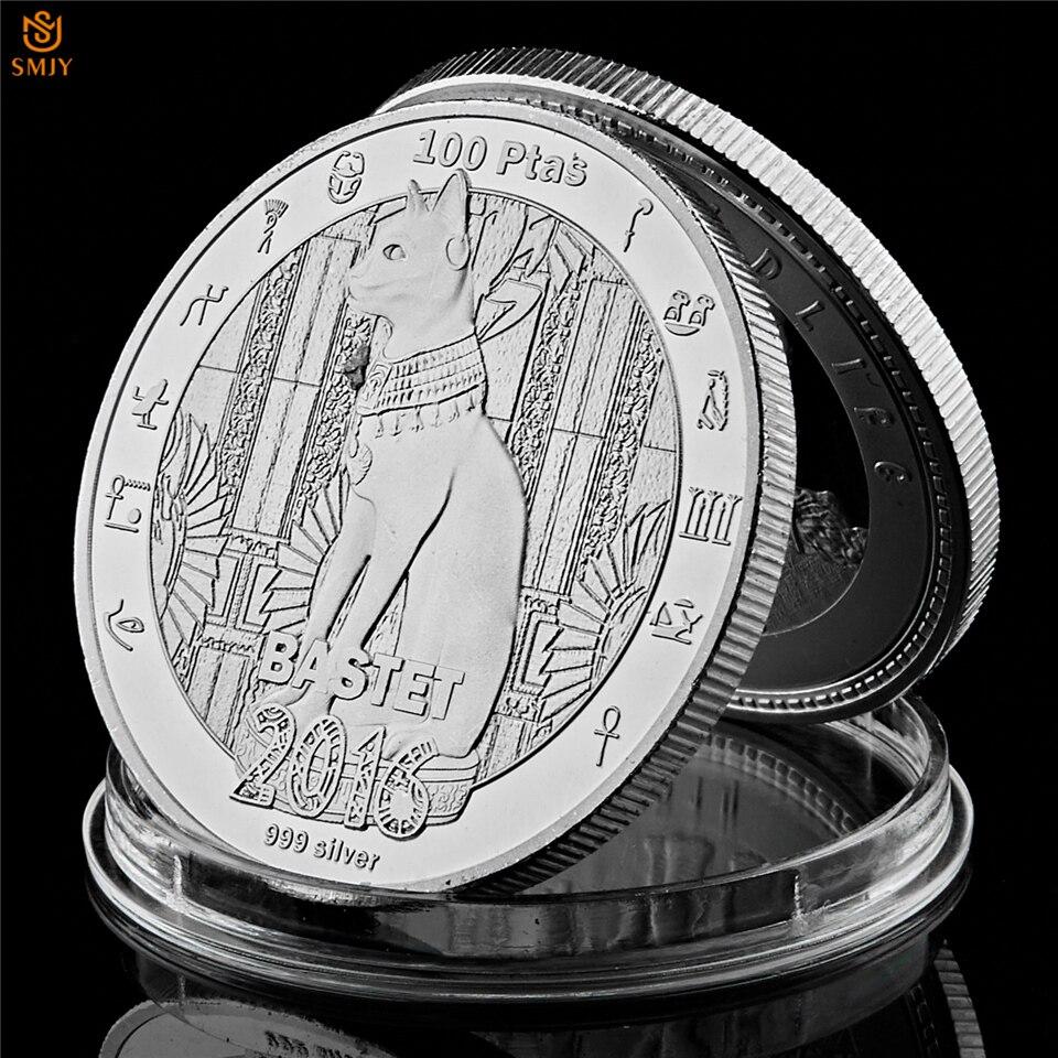 2016 Древняя египетская мифология кот Бог бастот богиня Посеребренная Памятная коллекция металлических монет и художественных ремесел Безвалютные монеты      АлиЭкспресс
