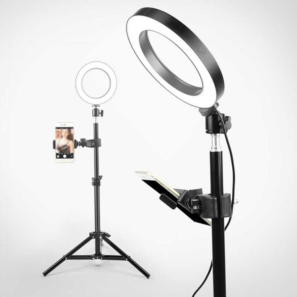 Andoer LED Ring Light with Cell Phone Holder Stand for Live Stream Makeup Selfie Recording Lighting with Flexible Metal Arm Compatible with iPhone Android Smartphones