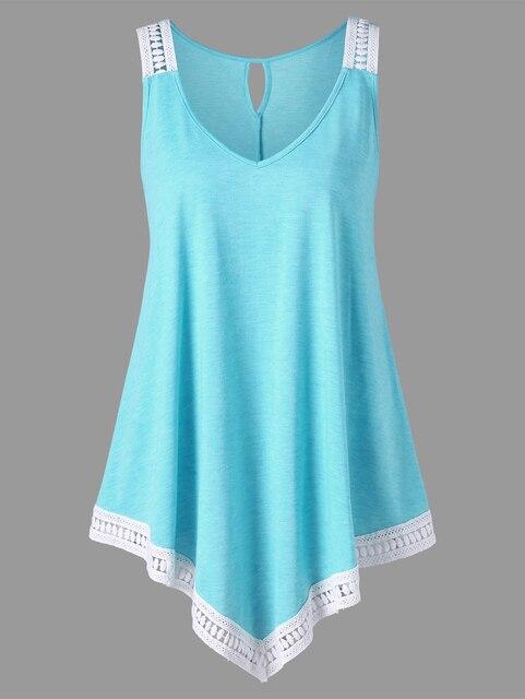 Wipalo Plus Size Crochet Panel Tank Top Summer Women Tanks Casual V-Neck Back Keyhole Asymmetric Tops 5 Colors Big Size Clothes
