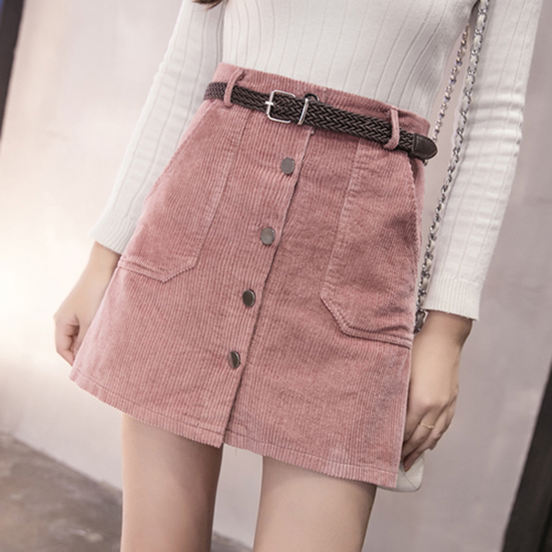 Japanese Kawaii Mini Skirt Women Solid Student Uniform A-Line Empire Winter Corduroy Skirts Office Lady Casual Button Skirt