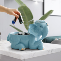 Resin Elephant figurines for gift living room office Modern Home decoration accessories desktop key phone storage box Ornaments