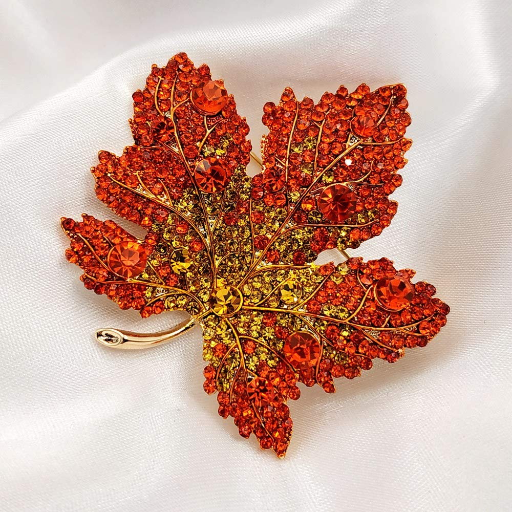 Image 4 - Vintage Stylish Full Micro Pave Yellow Orange Red Crystal Big Maple Leaf Brooch Gold Tone Canadian Maple Leaf Pin Autumn Jewelry-in Brooches from Jewelry & Accessories