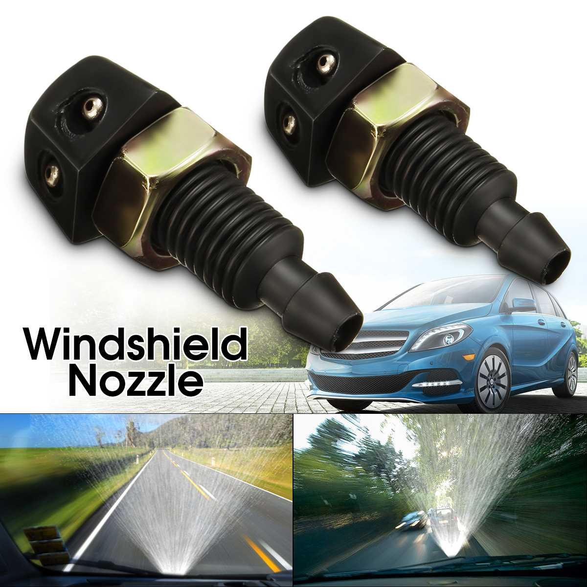2 Pcs Universal Car Vehicle Front Windshield Washer Sprayer Nozzle Black Plastic High Quality Headlight Washer Spray Nozzle