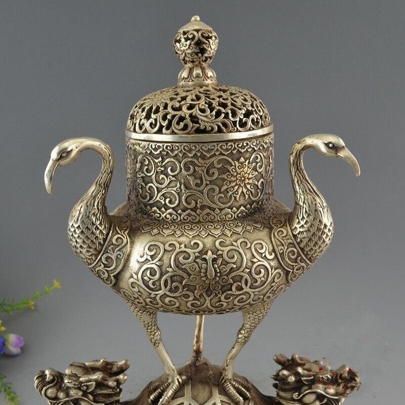 Rare chine Antique vieux tibétain argent Dragon tortue grue brûleur d'encens encensoir - 2