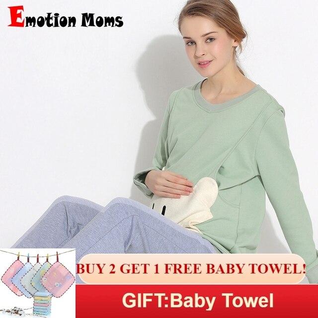 f00e8ac629 Emotion Moms maternity sleepwear Sets Pregnancy Pajamas Nightwear nursing  clothes breastfeeding Pajamas Suit for pregnant women