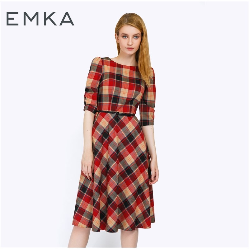 Dress A-line plaid open shoulder frill trim plaid dress