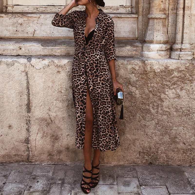 Весеннее женское леопардовое Платье макси с длинным рукавом женские платья с галстуком-бабочкой ретро сарафан-халат повседневные платья с ...