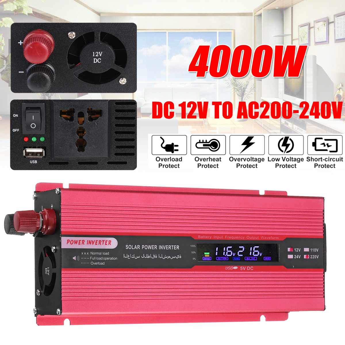 Onduleur solaire à onde sinusoïdale modifiée de crête 4000 W DC12V à AC220V convertisseur d'intelligence numérique LCD de voiture + Clip négatif positif