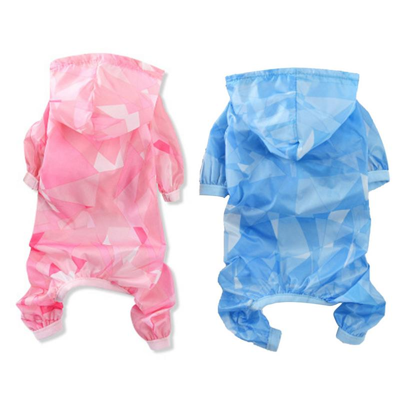 Summer New Pet Thin Four-legged Raincoat Teddy Dog Nylon Jumpsuit Pomeranian Dress Puppies Pet Costumes Comfortable Breathable
