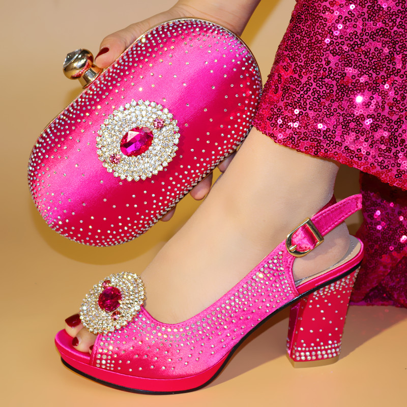 Shoes Matching-Bag Italian Fuchsia-Color African And To with Bag-Set 664-8