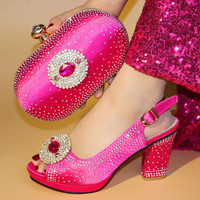 664 8 Italian Shoes and Bag To Match fuchsia Color Shoes with Bag Set Nigerian Shoes and Matching Bag African Wedding Shoes