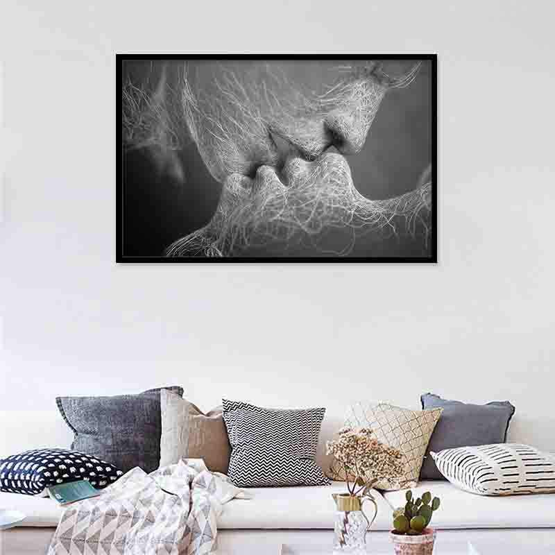 Venation Kissing Love Canvas Painting Poster Black White Pop Art Print Nordic Decoration Wall Picture for Living Room Decor