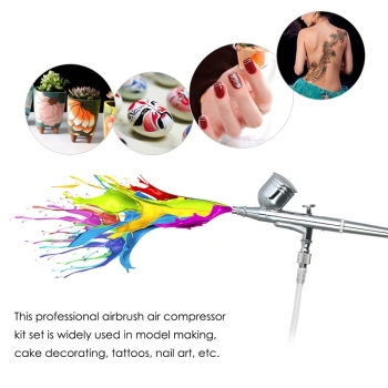 Mini Air Compressor Set Dual Action Airbrush Gravity Feed Air Brush Kit For Manicure Craft Cake Spray Tool Nail Tool Set Eu Pl eu plug dual action mini airbrush with compressor cake decoration 100 250v with airbrush cleaning set and mini air filter
