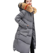 2018 Thicken Winter Jacket Coat Women Fashion Fox Fur Collar Hooded Warm Long Parkas Plus Size Hood Down Cotton Outerwear PJ295 wmswjh 2017 winter jacket women s coat plus size fur hooded parkas women slim quilted jackets thicken zipper warm outerwear