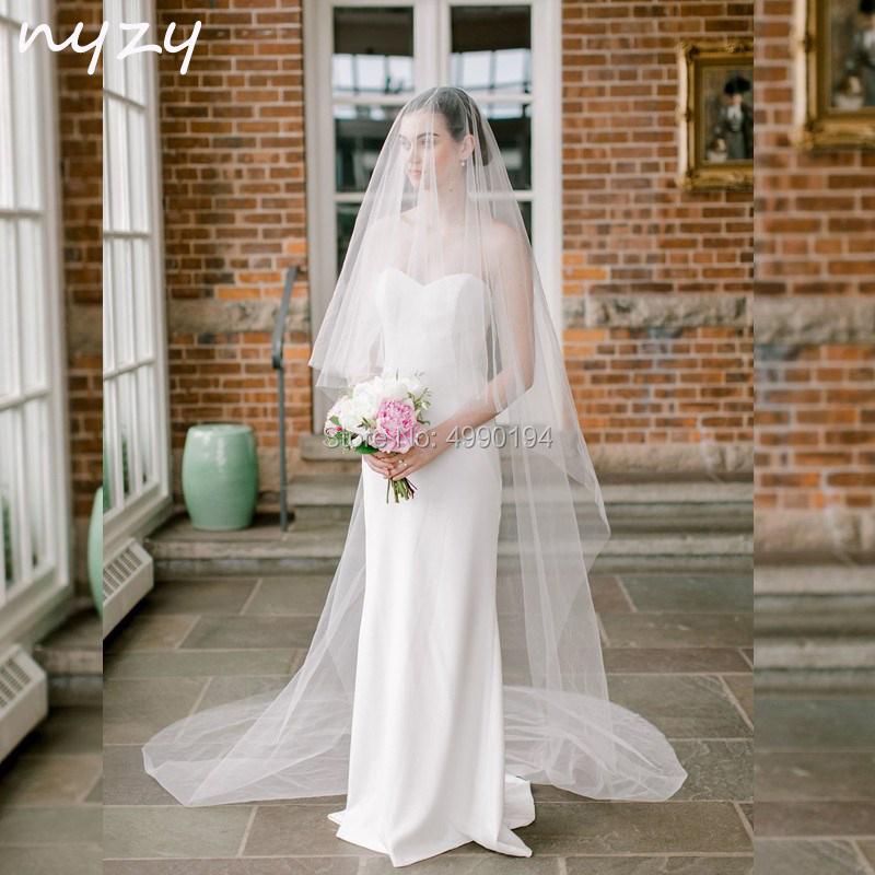 NYZY V6 Real Elegant 3m Long White Ivory Chapel Veil Wedding Veil Bridal Veil With Comb 2 Layeres Velo Voile 2019